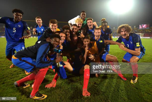Players of France celebrate their win against Honduras during the FIFA U-17 World Cup India 2017 group E match between France and Honduras at Indira...