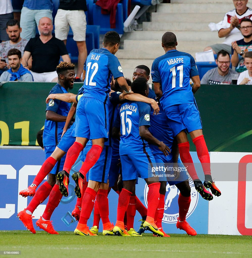 Players of France celebrates after scoring the first goal during the UEFA Under19 European Championship Final match between U19 France and U19 Italy at Wirsol Rhein-Neckar-Arena on July 24, 2016 in Sinsheim, Germany.