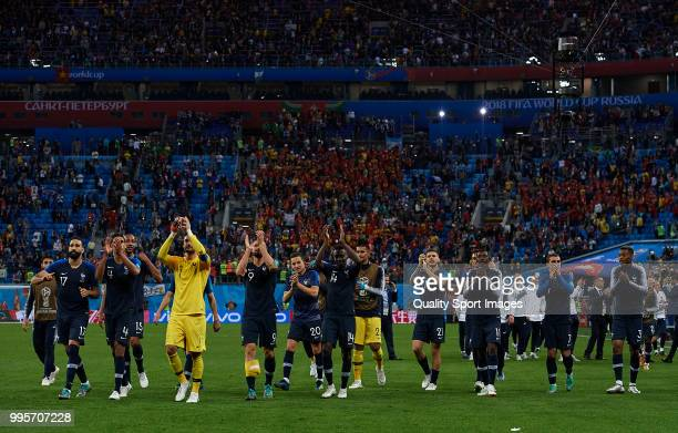 Players of France celebrates his team victory at the end of the 2018 FIFA World Cup Russia Semi Final match between Belgium and France at Saint...