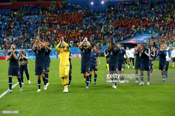 Players of France greet the fans after the 2018 FIFA World Cup Russia semi final match between France and Belgium at the Saint Petersburg Stadium in...