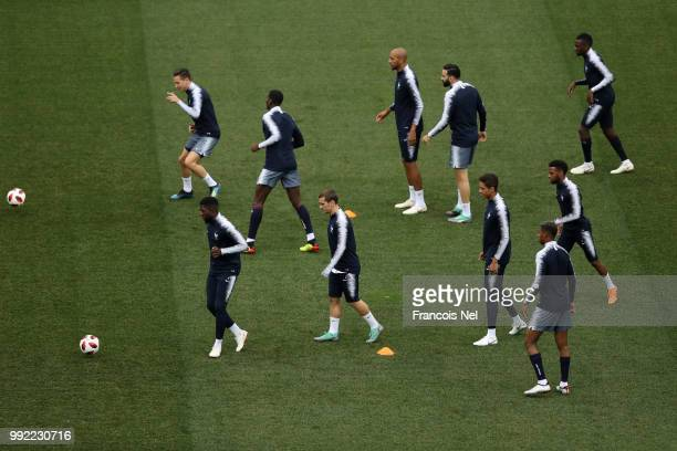 Players of France in action during a training session at Nizhny Novgorod Stadium on July 5 2018 in Nizhny Novgorod Russia