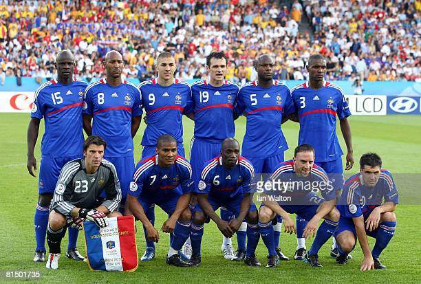 Players of France lie up prior to during the UEFA EURO 2008 Group C match between Romania and France at Letzigrund Stadion on June 9 2008 in Zurich...