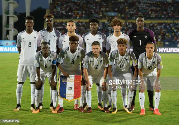 Players of France pose for a group photograph during the FIFA U17 World Cup India 2017 group E match between New Caledonia and France at Indira...