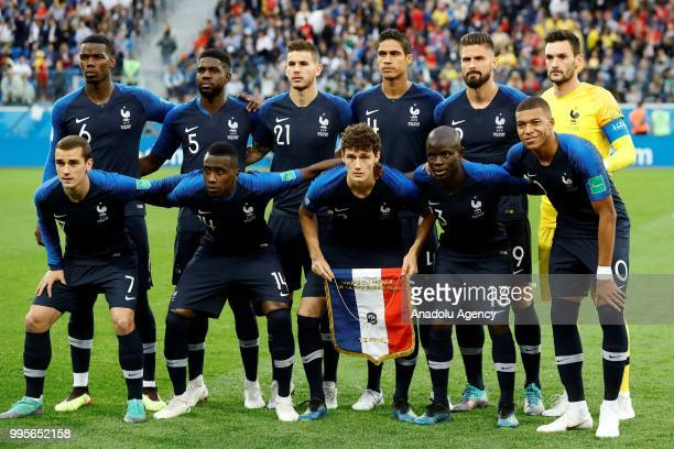Players of France pose for a photo before the 2018 FIFA World Cup Russia semi final match between France and Belgium at the Saint Petersburg Stadium...