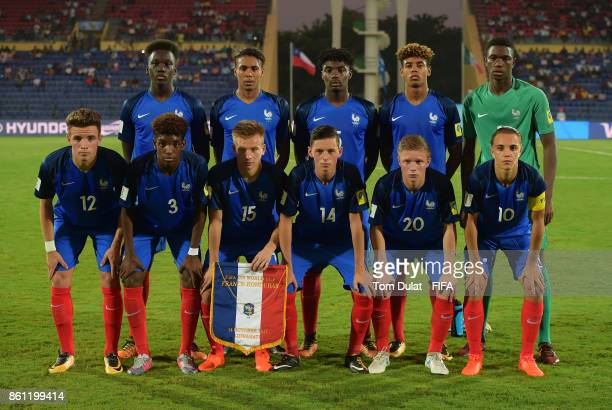 Players of France pose fot the team photograph prior to the FIFA U17 World Cup India 2017 group E match between France and Honduras at Indira Gandhi...