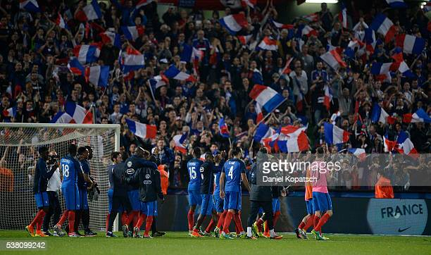 Players of France react after the International Friendly between France and Scotland on June 4 2016 in Metz France