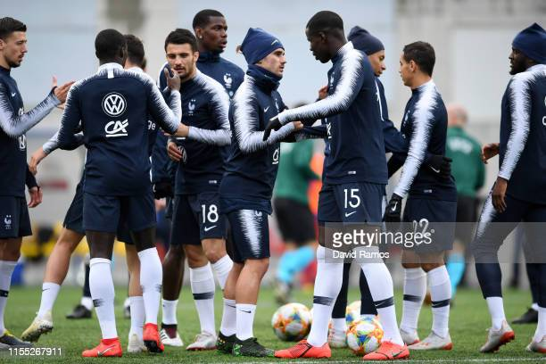 Players of France warm up ahead of the UEFA Euro 2020 Qualification match between Andorra and France on June 11 2019 in Andorra la Vella Andorra