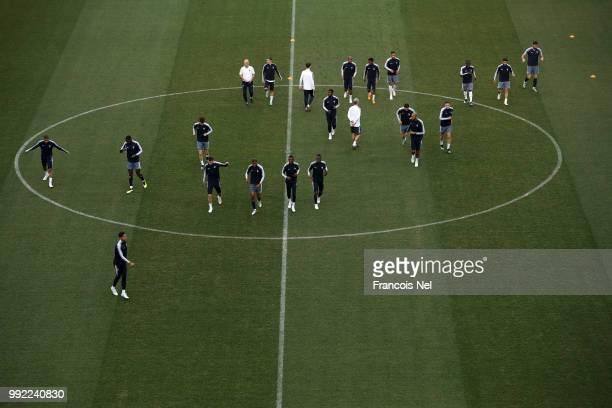 Players of France warm up during a training session at Nizhny Novgorod Stadium on July 5 2018 in Nizhny Novgorod Russia