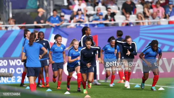 MarieAntoinette Katoto of France reacts during the FIFA U20 Women's World Cup France 2018 Semi Final semi final match between France and Spain at...