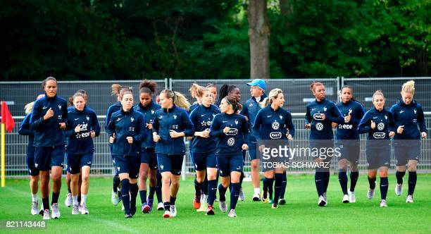 Players of France's women national soccer team attend a training during the UEFA Women's Euro 2017 football tournament in Zwijndrecht on July 23 2017...