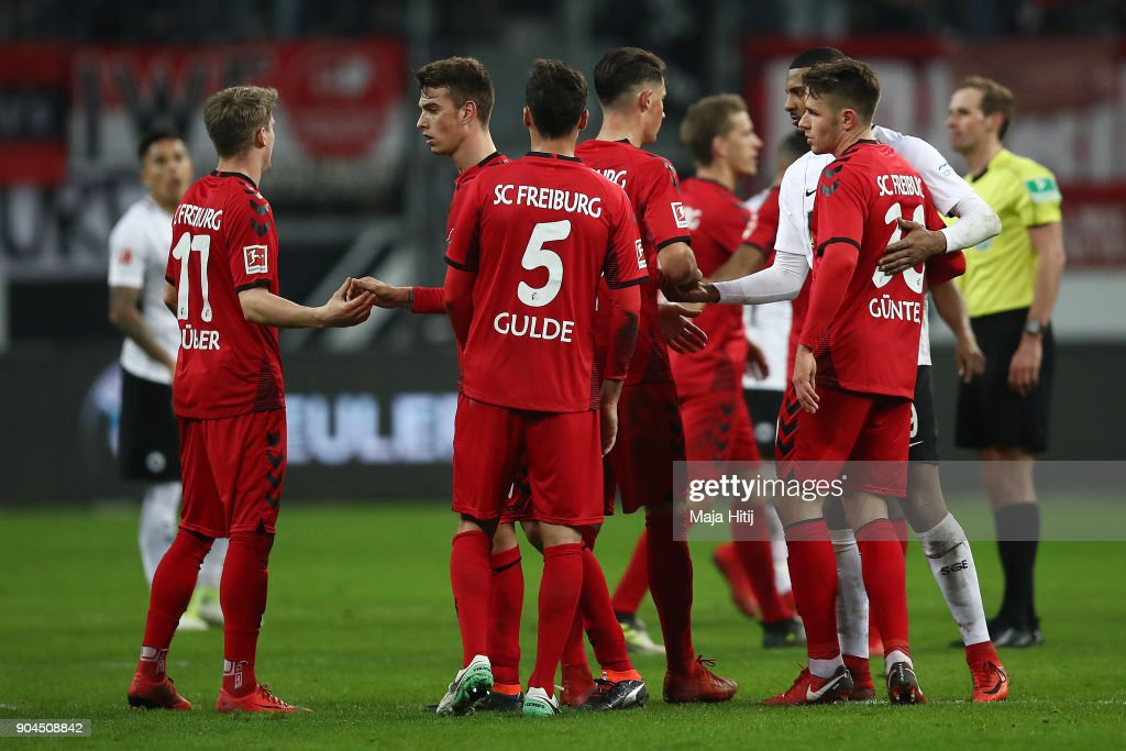 Players of Freiburg stand together after the Bundesliga match between Eintracht Frankfurt and Sport-Club Freiburg at Commerzbank-Arena on January 13, 2018 in Frankfurt am Main, Germany.
