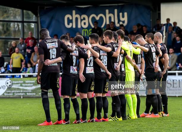 Players of French football club Chambly take part in a training session in Chambly on April 7 2018 ahead of their French national cup semi final...
