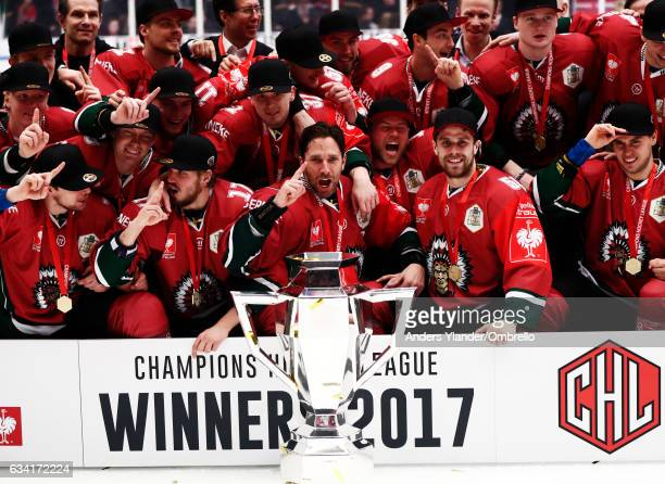 Players of Frolunda celebrates after the victory during the Champions Hockey League Final between Frolunda Gothenburg and Sparta Prague at...
