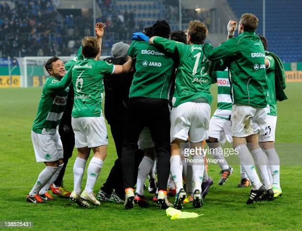 Players of Fuerth celebrates after winning the DFB Cup Quarter Final match between TSG 1899 Hoffenheim and SpVgg Greuther Fuerth at RheinNeckarArena...