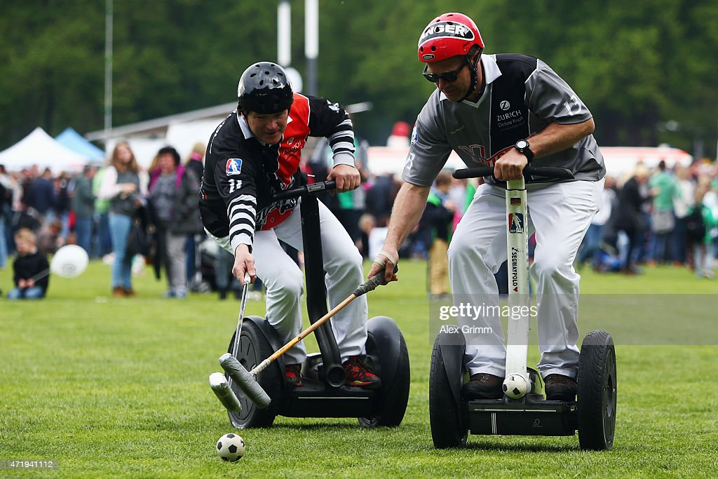 Players of Funky-Move Turtles Lohmar and X-Turtles Lohmar compete in a Segwaypolo friendly match on May 1, 2015 in Cologne, Germany.