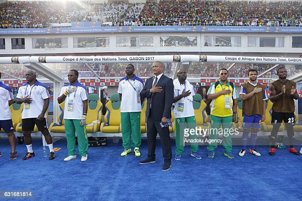Players of Gabon national football team are seen ahead of the Africa Cup of Nations 2017 match between Gabon and GuineaBissau at the De l'Amitie...