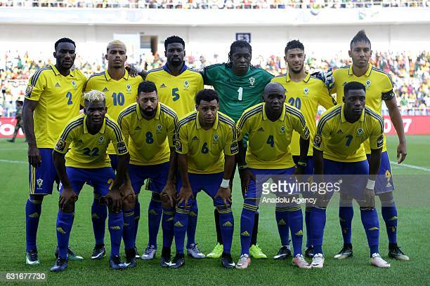 Players of Gabon national football team pose for a photo ahead of the Africa Cup of Nations 2017 match between Gabon and GuineaBissau at the De...