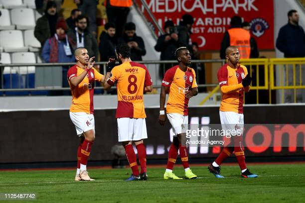 Players of Galatasaray celebrate a goal during the Turkish Super Lig soccer match between Kasimpasa and Galatasaray at Recep Tayyip Erdogan Stadium...
