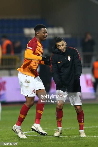 Players of Galatasaray celebrate after the Turkish Super Lig soccer match between Kasimpasa and Galatasaray at Recep Tayyip Erdogan Stadium in...