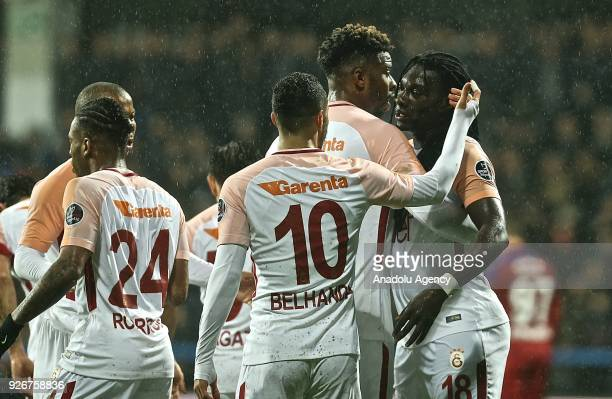 Players of Galatasaray Mariano Belhanda and Gomis celebrate a goal during a Turkish Super Lig match between Kardemir Karabukspor and Galatasaray at...