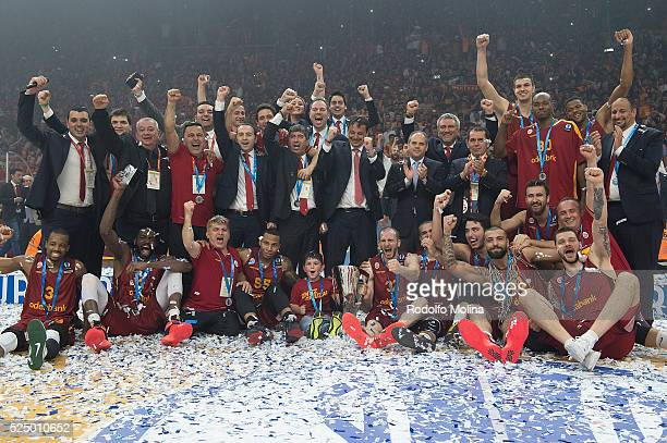 Players of Galatasaray Odeabank Istanbul new Champion pose with trophy at the end of the EuroCup Basketball Finals Game 2 between Galatasaray...