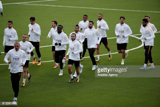 Players of Galatasaray Team practice during a training session ahead of the UEFA Europa League 2nd Qualifying Round soccer match against Ostersunds...