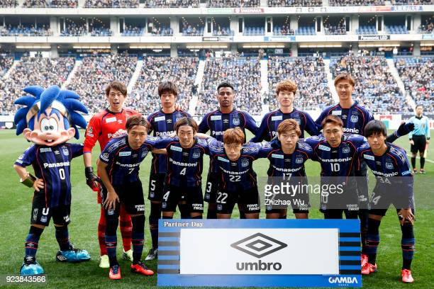 Players of Gamba Osaka line up for team photo prior to the JLeague J1 match between Gamba Osaka and Nagoya Grampus at Suita City Football Stadium on...