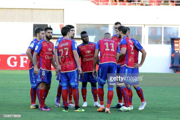 Players of Gazelec during the Ligue 2 match between Gazelec Ajaccio and Paris FC at Stade Ange Casanova on July 27 2018 in Ajaccio France
