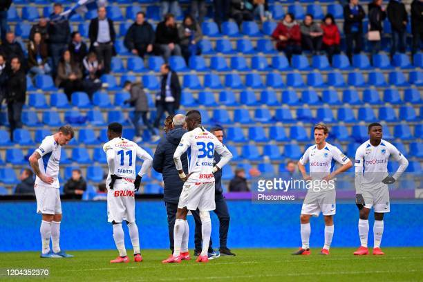 players of Genk look dejected after the Jupiler Pro League match between KRC Genk and Club Brugge KV on March 01 2020 in Genk Belgium 1/03/2020