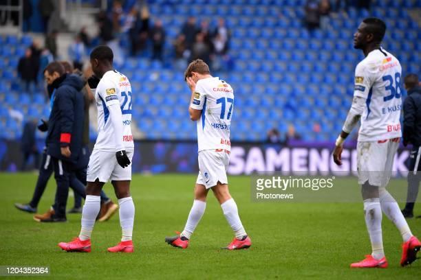 players of Genk look dejected during the Jupiler Pro League match between KRC Genk and Club Brugge KV on March 01 2020 in Genk Belgium 1/03/2020