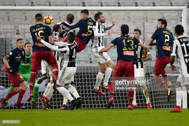Players of Genoa CFC and Juventus FC compete during the Serie A football match between Juventus FC and Genoa CFC Juventus FC won 10 over Genoa CFC