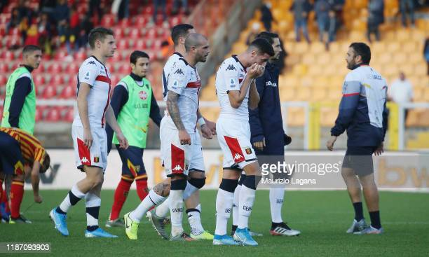 Players of Genoa show their dejection after the Serie A match between US Lecce and Genoa CFC at Stadio Via del Mare on December 8, 2019 in Lecce,...