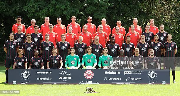 Players of German first division Bundesliga team Eintracht Frankfurt Bruno Huebner Armin Veh Reiner Geyer Moppes Petz Michael Fabacher Christian...