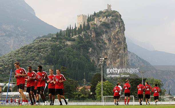 Players of German football club FC Bayern Muenchen attend the afternoon training session in front of Arco castle on July 4 2011 in Riva del Garda...