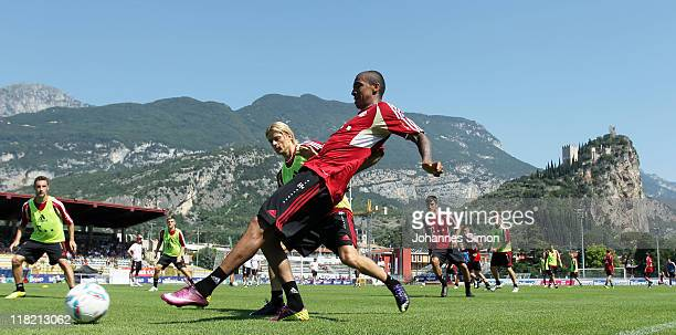 Players of German football club FC Bayern Muenchen attend the morning training session at Arco training ground on July 5 2011 in Riva del Garda Italy