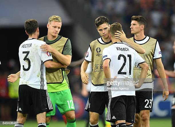 Players of Germany are seen after their defeat against France following the UEFA Euro 2016 semi final match between Germany and France at Stade...