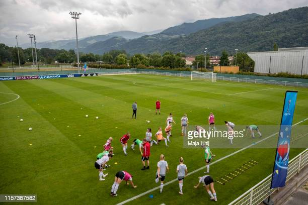 Players of Germany attend a training session on June 21 2019 in Grenoble France Germany is playing against v Nigeria at Round Of 16 match on June 22...