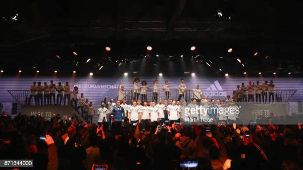 Players of Germany attend the presentation of the new adidas Germany kit for the 2018 FIFA World Cup Russia at The Base on November 7 2017 in Berlin...