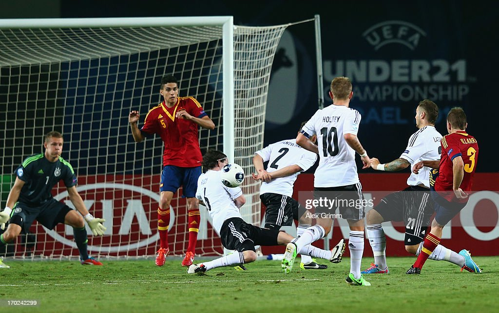 Players of Germany block a shot of Asier Illarramendi (R) of Spain during the UEFA European U21 Champiosnship Group B match between Germany and Spain at Netanya Stadium on June 9, 2013 in Netanya, Israel.