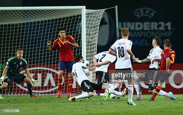 Players of Germany block a shot of Asier Illarramendi of Spain during the UEFA European U21 Champiosnship Group B match between Germany and Spain at...