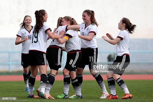Players of Germany celebrate a goal during the UEFA Women Under16 match between U16 Scotland v U16 Germany on February 13 2016 in Vila Real de Santo...