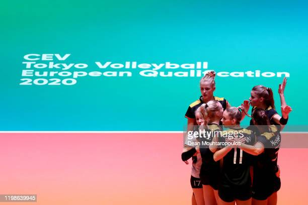 Players of Germany celebrate a point during the Women CEV Tokyo Volleyball European Qualification 2020 match between Germany and Croatia held at...