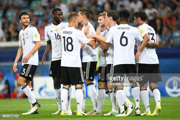 Players of Germany celebrate a score during match the FIFA Confederations Cup 2017 between Germany and Mexico in Sochi Russia on June 29 2017