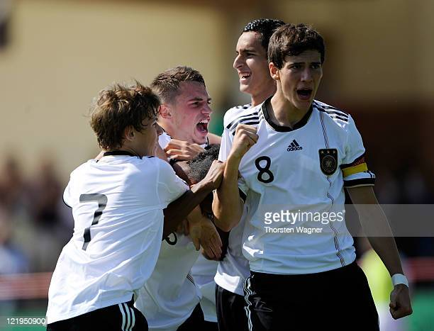 Players of Germany celebrate after Jeremy Dudziak scored the opening goal during the U17 International friendly match between Germany and Turkey at...