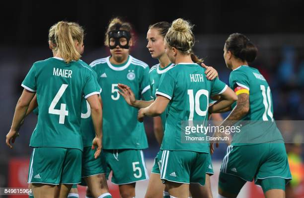 Players of Germany celebrate after the first goal during the 2019 FIFA Women's World Championship Qualifier match between Czech Republic Women's and...
