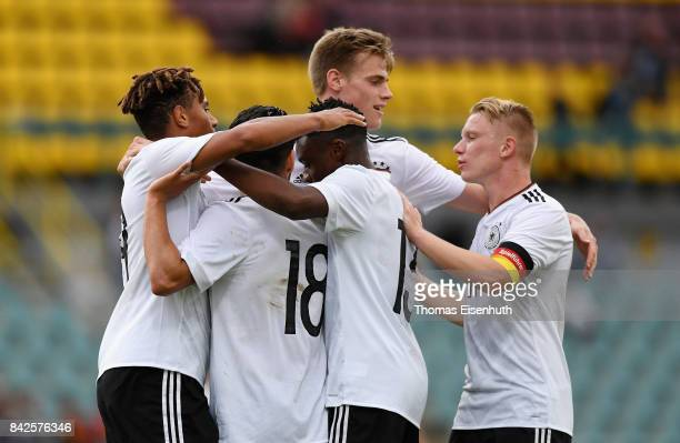 Players of Germany celebrate after the first goal during the Under 20 Elite League match between U20 of the Czech Republic and U20 of Germany at...