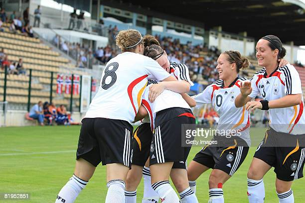 Players of Germany celebrate after the goal of Stefanie Mirlach during the Women's U19 European Championship match between Germany and Norway at the...
