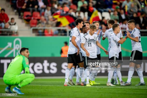 Players of Germany celebrate after their team's second goal during the U21 international friendly match between Germany and Greece at GGZ ARENA on...