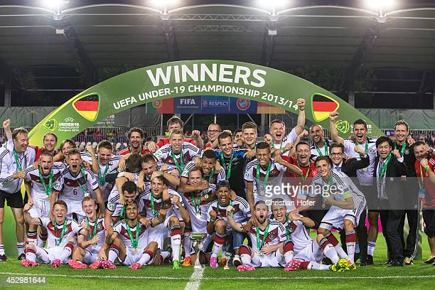 Players of Germany celebrate after winning the UEFA Under19 European Championship Final between Portugal and Germany at Stadium Ferenc Szusza on July...