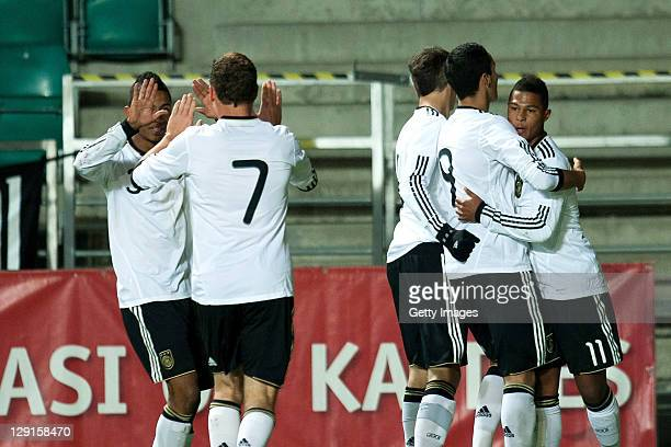 Players of Germany celebrate during the Under17 Euro qualifier match between Germany and Estonia at A Le Coq Arena on October 13 2011 in Tallinn...